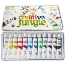 12 színű tempera festék 12 ml alumínium tubusban - Creative Jungle - Tempera készlet - 799Ft