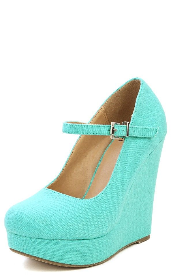 Delicious Finch-s Round Toe Platform Mary Jane Wedges TIFFANY BLUE