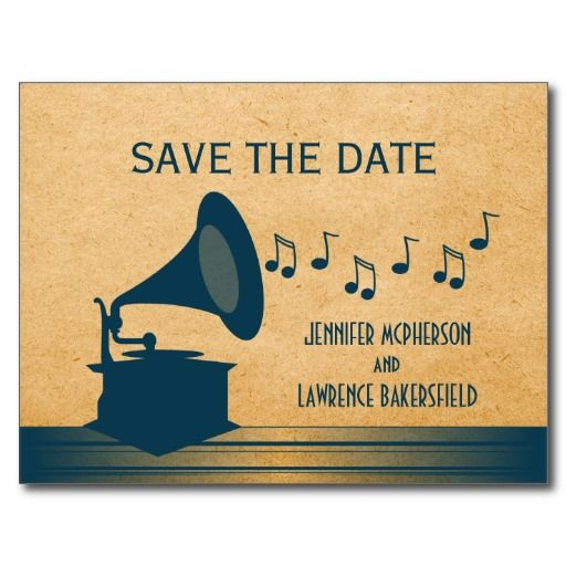 Blue Vintage Gramophone Save the Date Postcard
