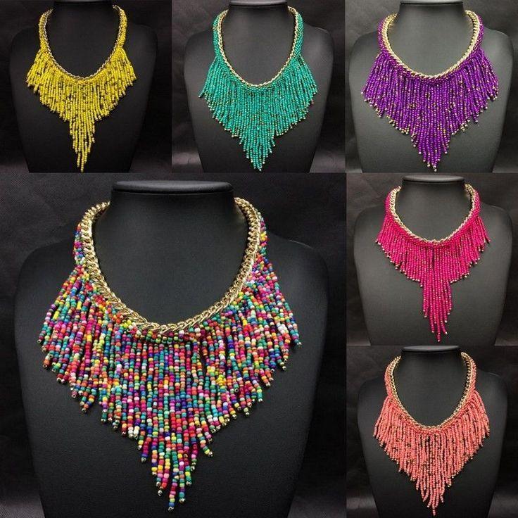 Ethnic Bohemian seed beads statement tassel pendant cascading necklace