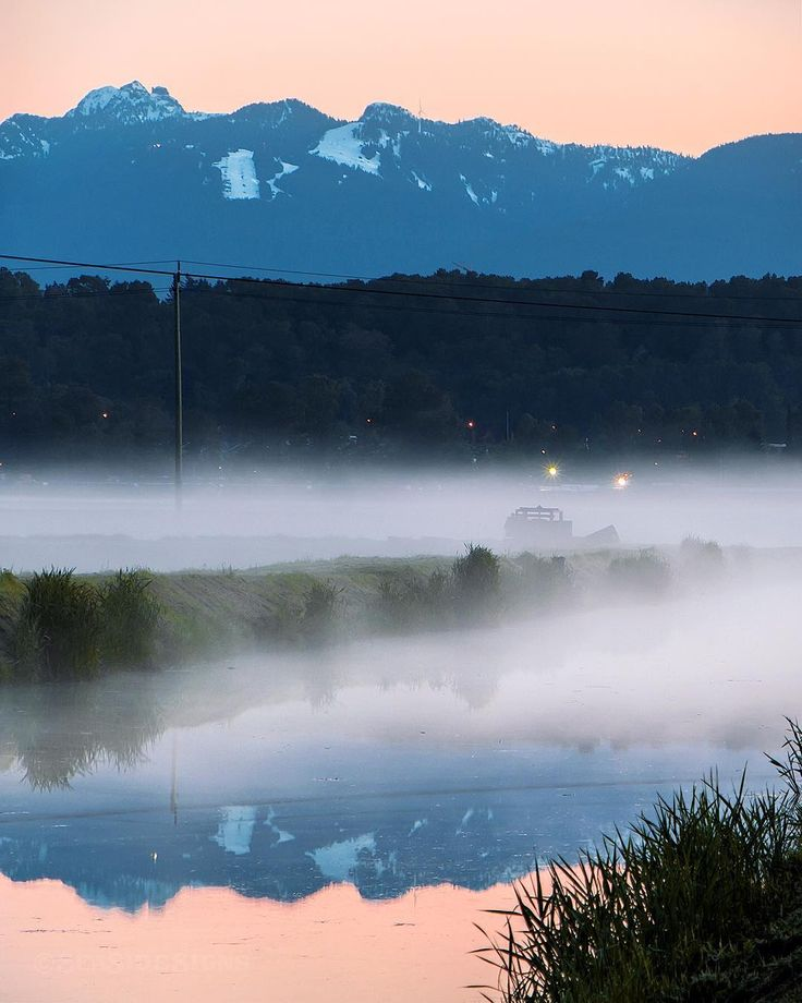 Grouse Reflections  . A foggy Saturday morning sunrise and the summer opening up at Grouse Mountain this past weekend. Looking up from a cranberry farm on Lulu Island to the Peak of Vancouver still covered in snow. Captured in Richmond British Columbia Canada  May 20 2017