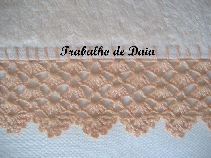 Crochet lace edging: 4 shell rows ad last row scallops ~~ bicos de croche - Pesquisa do Google