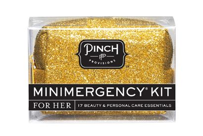 Glitter minimergency kit. Sparkly kit containing 17 must-haves a girl could use in a pinch.