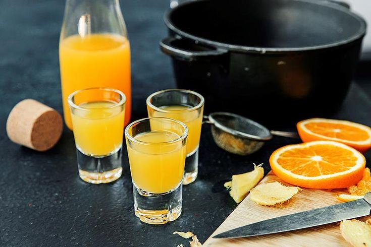 ingefærshots med appelsin og sitron