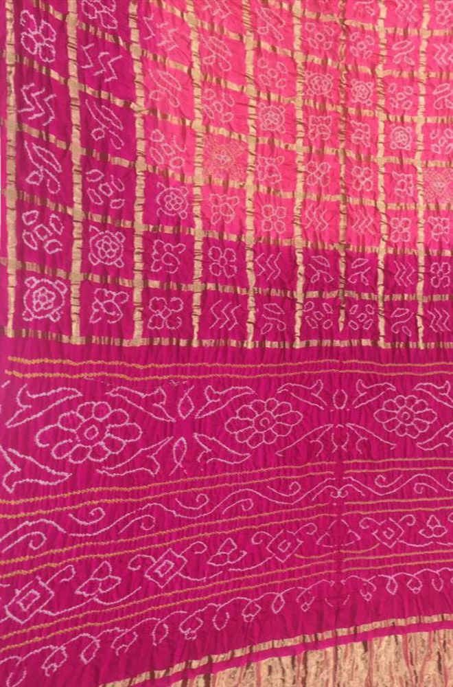 61122bbd5a Buy online Pink Bandhani Gharchola Pure Silk Checks Saree in 2019 ...