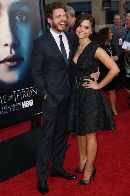 Richard Madden and Jenna-Louise Coleman - Madden plays Robb Stark, King in the North fighting the Lannisters as vengeance for his father's murder. Madden's girlfriend, Coleman, plays Clara, the Doctor's newest companion in season 7 of Doctor Who.