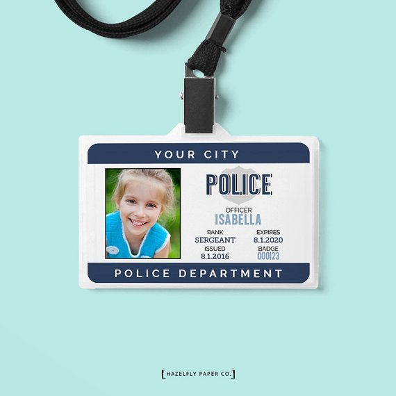 Personalized Kids Police Officer Photo ID Card by HazelflyPaperCo