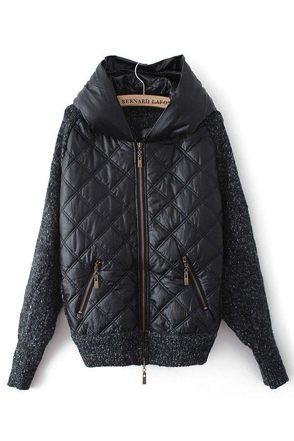 Quilt Detail Hooded Coat