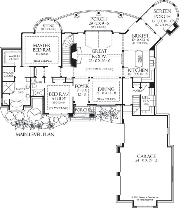 Plan of the week ranch and hillside walkout 3 car Hillside garage plans