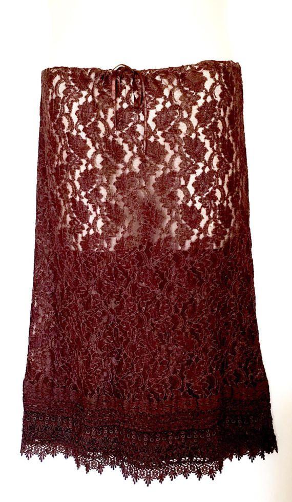 Enchantress Bohemian Vintage Woodland Brown Gothic Lace Skirt