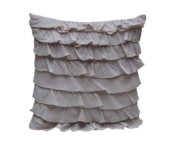 Подушка с оборками - хлопок - серый - 45x45x10 см | Westwing Интерьер & Дизайн