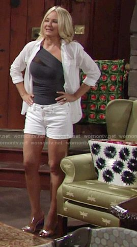 Sharon's one-shoulder swimsuit and white shorts on The Young and the Restless…
