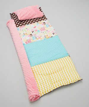Look what I found on #zulily! Janiebee Brown & Pink Meadow Quilted Nap Mat by Janiebee #zulilyfinds