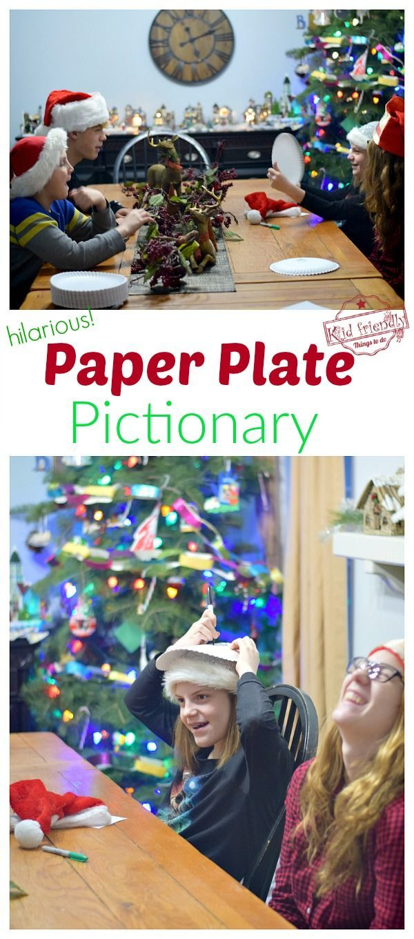 Paper Plate Pictionary Hilarious Group Game Idea Kid Friendly Things To Do Christmas Games For Family Fun Christmas Games Games For Kids