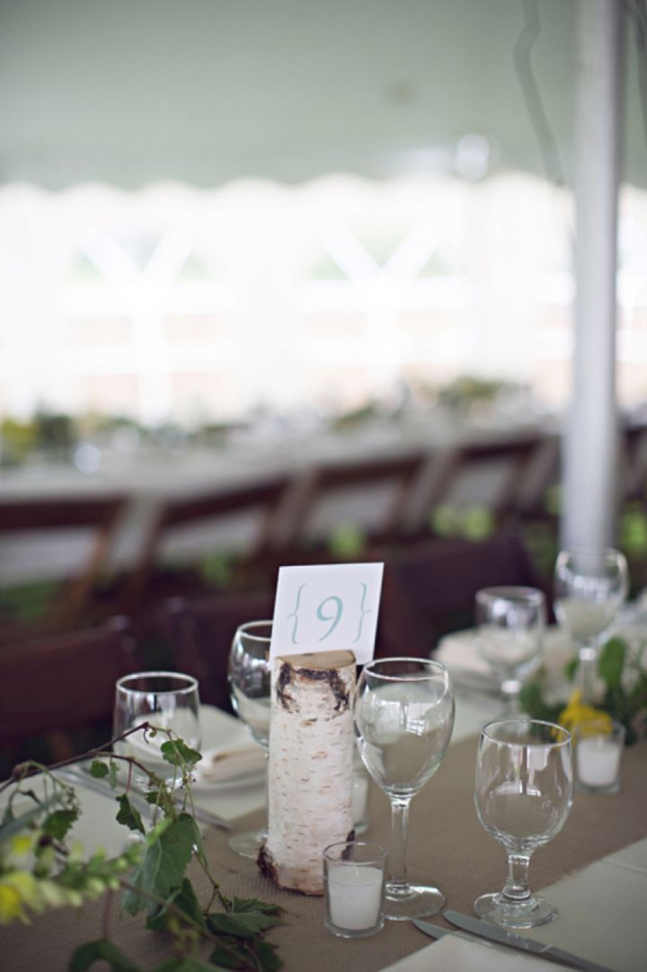 Birch tree trunk table number // Photo by Mishelle Lamarand Photography http://theeverylastdetail.com/2013/09/18/colorful-unique-rustic-michigan-wedding/