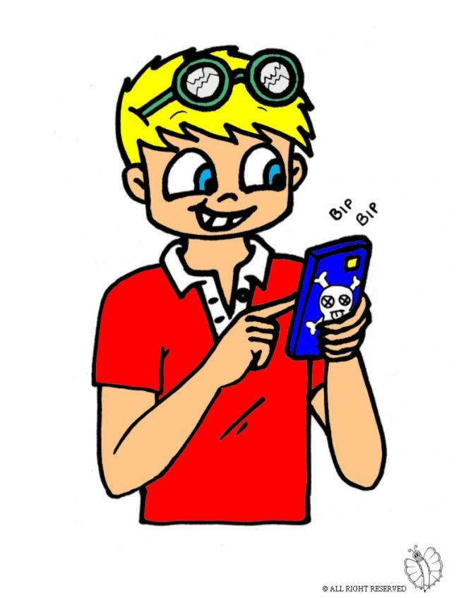 Disegno: Bambino con Telefonino. Disegni colorati per bambini da stampare gratis. Puoi stampare, scaricare il disegno o guardare gli altri disegni simili a questo. disegnidacolorareonline.com.