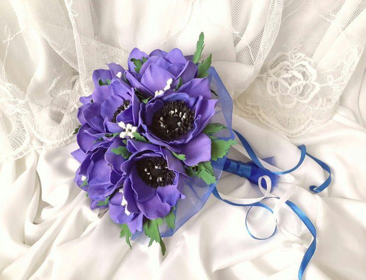 Купить Свадебный букет и брошь с анемонами - анемоны, анемон, свадьба, букет невесты, синий, фоамиран