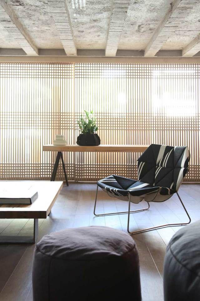 Faliro Loft by ése Studio in Athens, woven shoji screen black mosaic tile bench