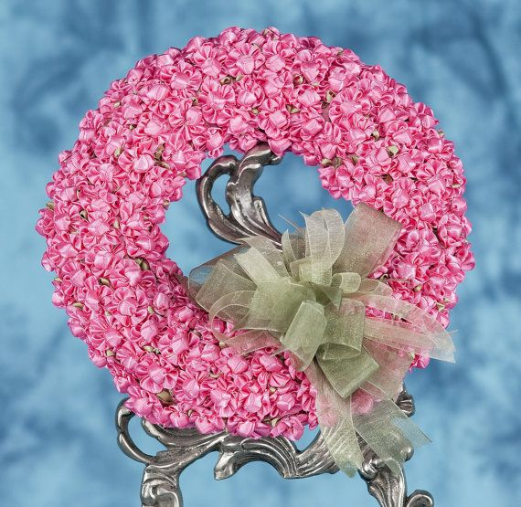 HOT PINK MINIATURE RIBBON ROSES ADORNING A STRAW BY DEBINDAVE, $25.00