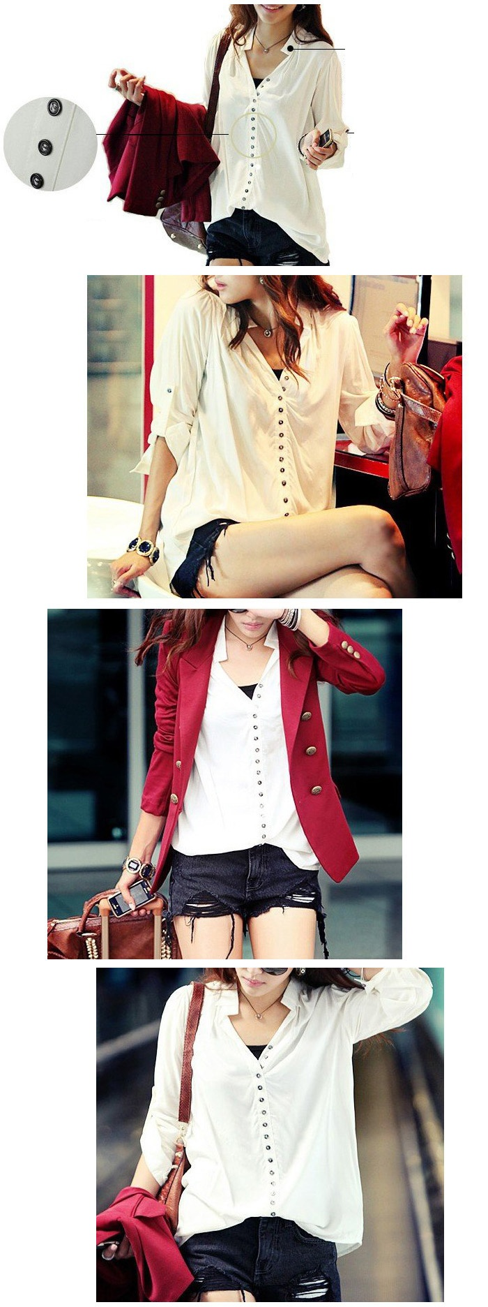 : Blouses, Long Sleeve Shirts, White Shirts, Casual, Cotton Shirts, Blazers, Buttons, Cute Outfit, Basic White