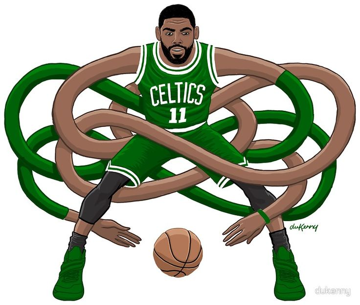 Gnarly handles comes to Boston. • Buy this artwork on apparel, stickers, phone cases, and more. #Kyrie Irving #NBA #Boston #Celtics #Gnarly #Handles #dukenny