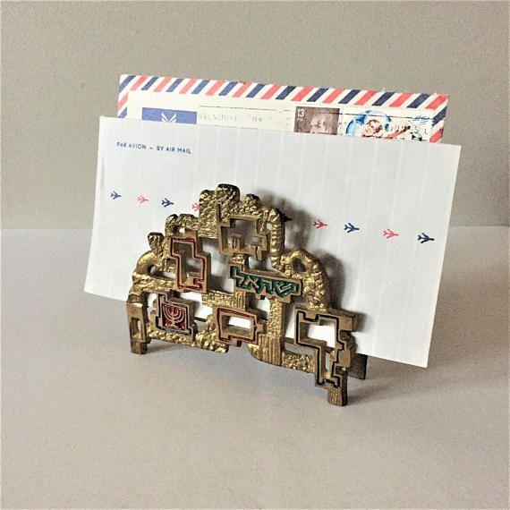 Jewish Napkin Holder Israel Souvenir Brass Letter Organizer