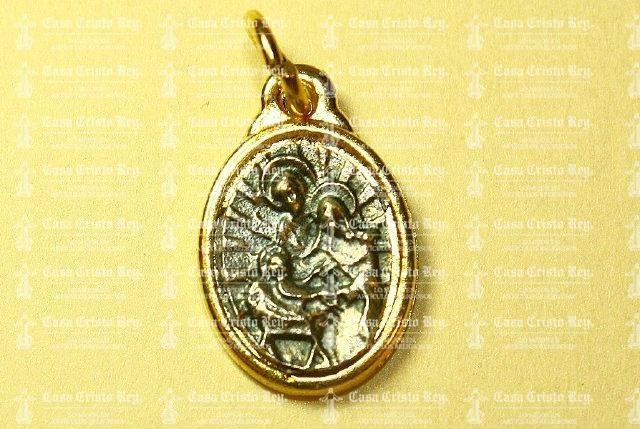 Casa Cristo Rey - Medalla Ovalada Chica Dorada Con Plateado Sagrada Familia Tipo Italiana