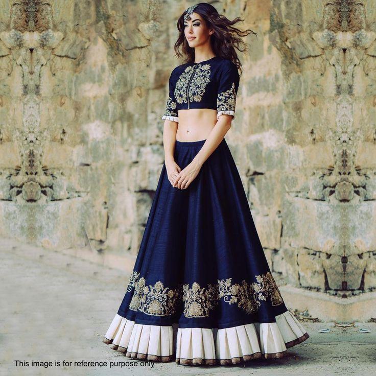 Buy Navy Blue Bhagalpuri Silk Lehenga Choli for womens online India, Best Prices, Reviews - Peachmode