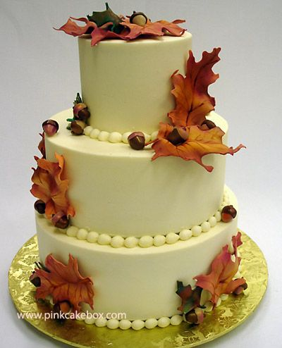 Autumn Buttercream Wedding Cake by Pink Cake Box in Denville, NJ. More photos at http://blog.pinkcakebox.com/autumn-wedding-cake-2007-10-14.htm #cakes