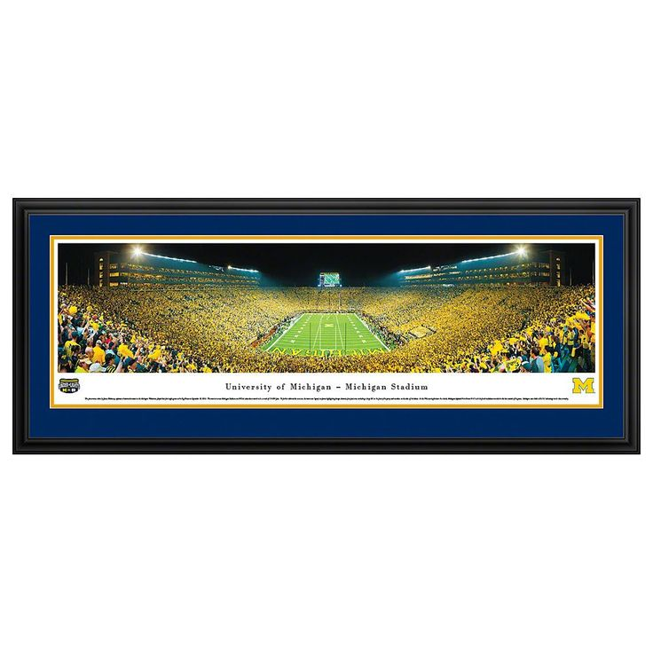 Michigan Wolverines Football Stadium End Zone Framed Wall Art, Multicolor
