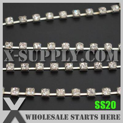 Ss20 редкие горный хрусталь цепь чашки ( 888 ), Используется для свадебные аксессуары, Кристалл горного хрусталя в серебряной цепочке