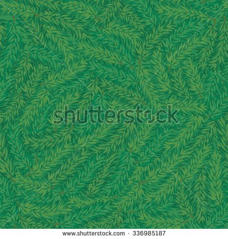 Vector seamless green pine branch chaotic background. Winter pattern - stock vector