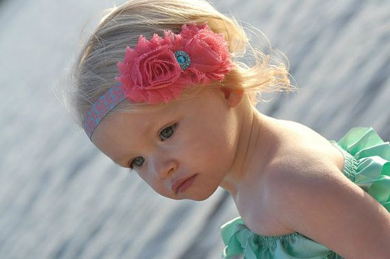 Baby Girl Headbands - Baby Girl - Hair Bow - Coral and Aqua - Vintage Baby Headband - Baby Headbands - Newborn