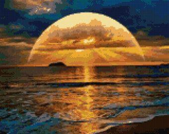 Ocean Sunset Cross stitch pattern PDF  EASY chart by HeritageChart
