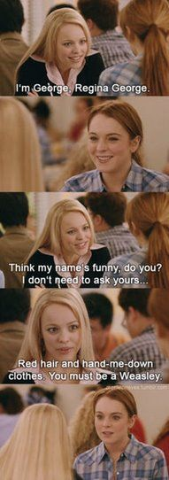 Haha Regina George = Draco Malfoy   Dkmmmm all these mean girls / Harry potter pins