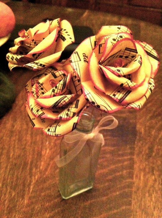 Paper flowers made from sheet music, great gift idea!!! From Bea's Blooms on etsy