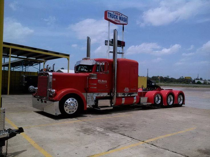 With Drop Axle Semi : Matte red peterbilt with drop axle big rigs pinterest