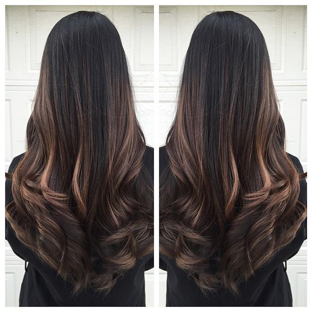 Natural balayage on thick & long hair! Nicole came in with virgin level 1 black hair & wanted something ...