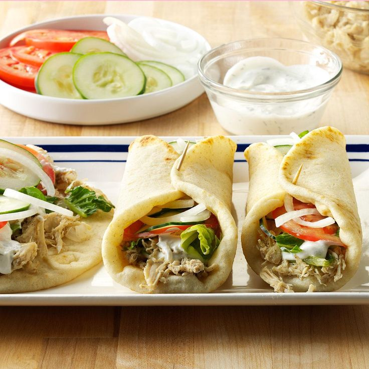 Shredded Chicken Gyros Recipe -We go to the annual Greek Festival in Salt Lake City for the awesome food. This chicken with lemon and spices is a great way to mix up our menu, and my kids are big fans! —Camille Beckstrand, Layton, Utah