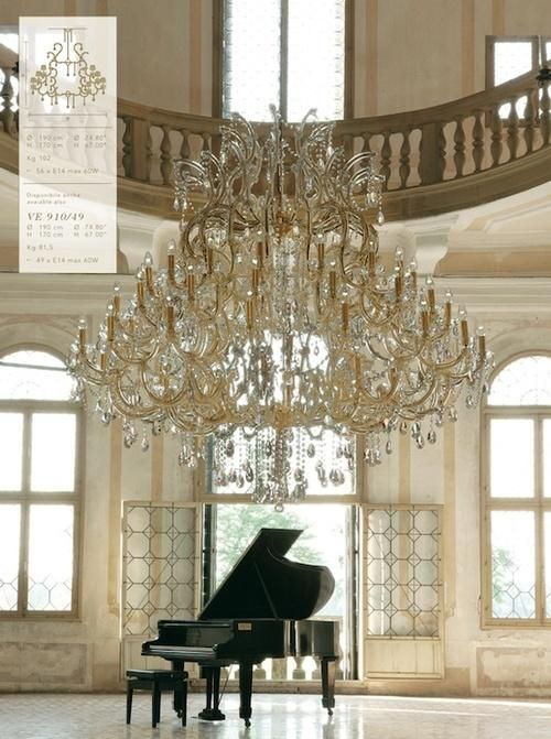 Wow - someone's got plenty of space for a concert grand piano and a very big chandelier.... :)