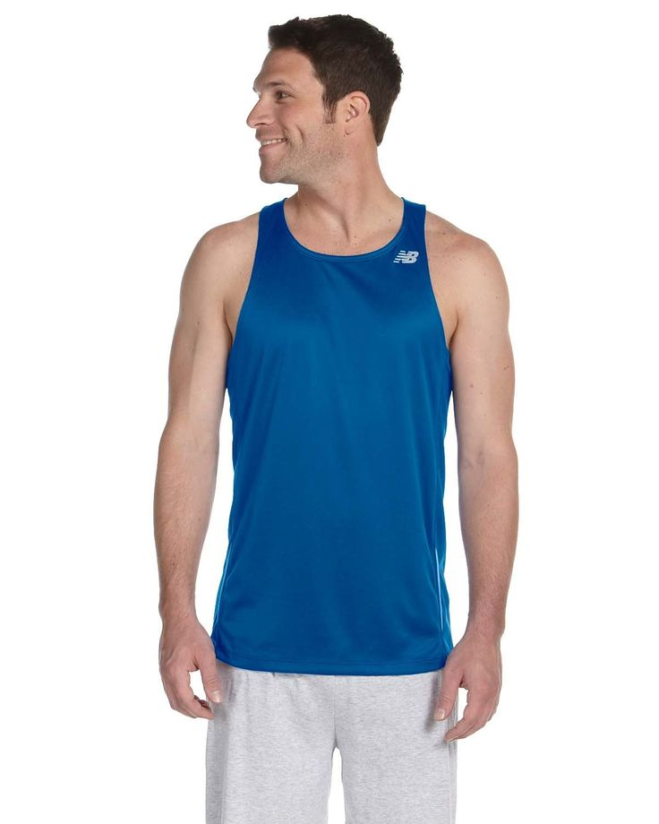 New Balance Men's Tempo Running Singlet, XL, ROYAL. 100% polyester-birdseye piqué knit flatback mesh. Wicking and anti-microbial properties. Athletic fit with inset side panels. Racerback pattern; Heat transfer label and sideseam care label. New Balance logo on wearers left strap (Flying NB).