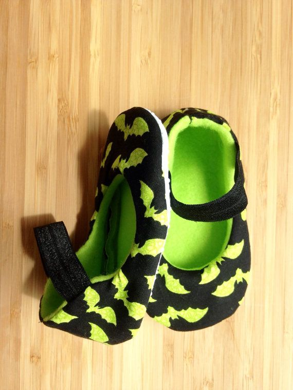 Punk baby, Goth baby, baby girl shoes,Vegan shoes, baby booties, neon green, glow in the dark, bat shoes, handmade, soft sole, crib shoes