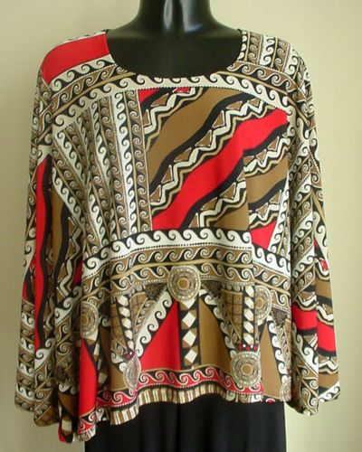 NEW-Handmade-Cape-Poncho-Top-Abstract-red-taupe-black-poly-1size