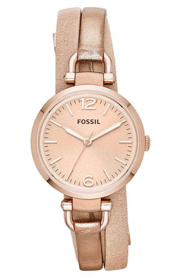 Fossil Women's Georgia Three-Hand Two-Tone Silver & Tan Leather Watch - ES3409