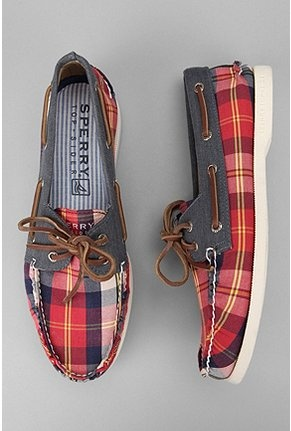 I would so wear these. Sperry Top-Sider Plaid Washed Canvas Boat Shoe