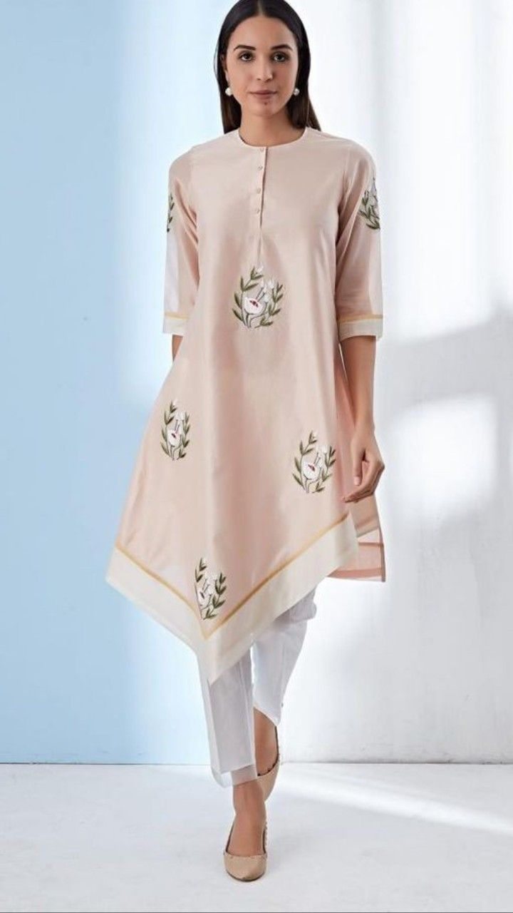 Beautiful Tail Cut Kurti With Superb Embroidery Embellishments Kurtis In 2018 Designer Wear Styles