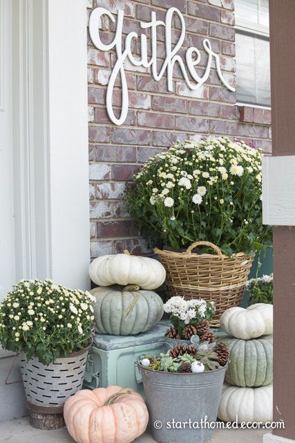 Adding Curb Appeal for Fall on a Budget    Fall Front Porch    With Heirloom Pumpkins, Mums and Succulents    Gather Cutout By Start at Home Decor