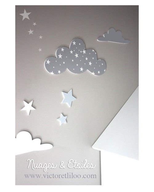 Deco chambre bebe theme etoile deco chambre enfant - Chambre bebe theme nuage ...