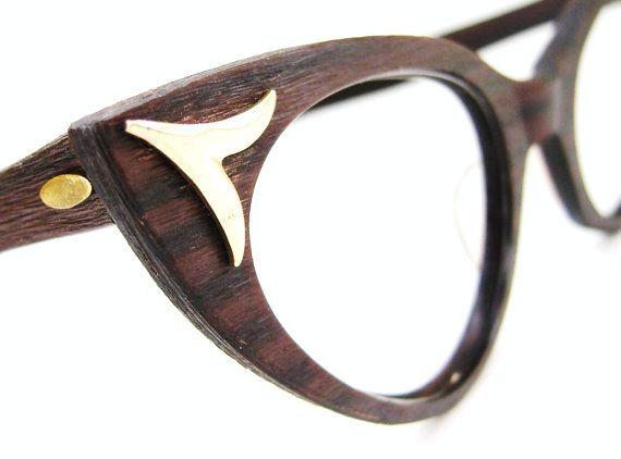Unique Cat Eye Glasses Frame Vintage : Vintage Wood Grain Harlequin Cat Eye Eyeglasses Frame UNIQUE