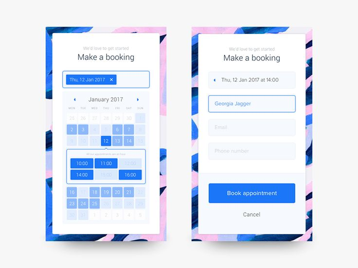 Just a quick mock-up I did of an appointment booking form, for a mobile experience.   Each date will show time slots available without taking you away from the calendar, and only asks you for your ...